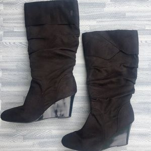 Black suede wedge boots, Rampage, sz 8.5